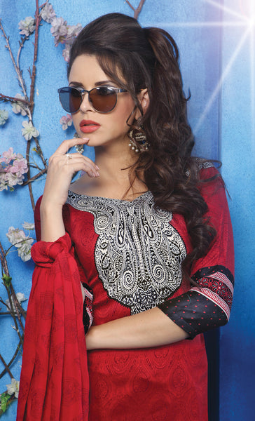 Designer Printed Pakistani Style Suits in Glaze Cotton:atisundar graceful Red Designer Printed Unstitched Suits - 6470 - atisundar - 4 - click to zoom