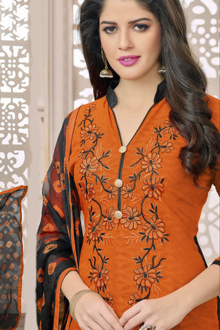 Designer Straight Cut:atisundar enticing Orange Designer Party Wear Embroidered Straight Cut in Cotton Jacquard - 12519 - atisundar - 4