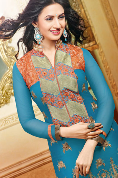 Designer Straight Cut:atisundar gorgeous Rama Green Designer Embroidered Straight Cut - 10660 - click to zoom
