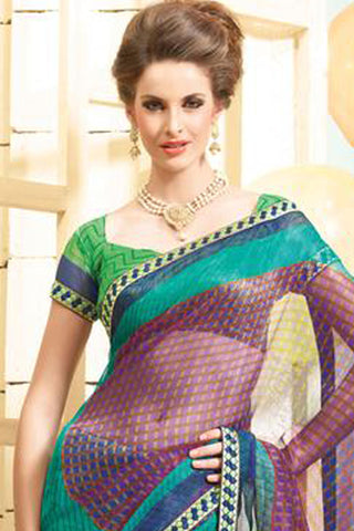 Bewitching Multi Colored Print Saree - 3918