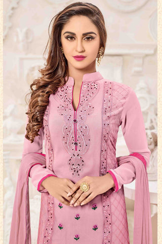 Designer Straight Cut:atisundar Superb Pink Designer Party Wear Straight Cut - 13514