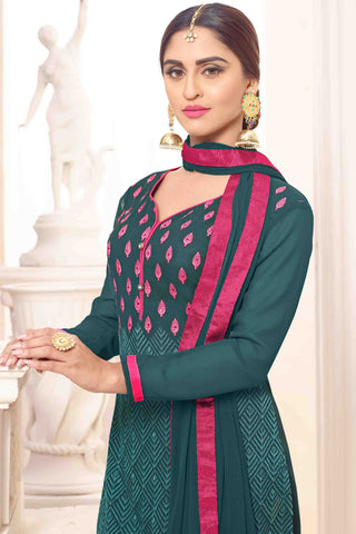 Designer Straight Cut:atisundar appealing Green Designer Party Wear Straight Cut - 13515