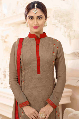 Designer Straight Cut:atisundar pretty Brown Designer Party Wear Straight Cut - 13516