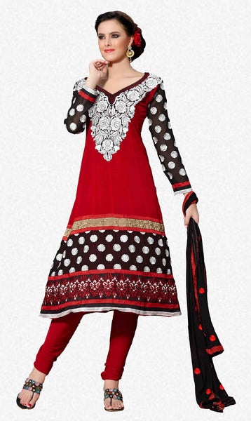 atisundar Ujjwala: Radiant Unstitched Salwar Kameez In Red - 3989 - atisundar - 1 - click to zoom