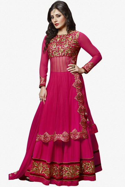 The Rimi Sen Collection:atisundar appealing Pink Designer Embroidered Anarkali - 8918 - click to zoom