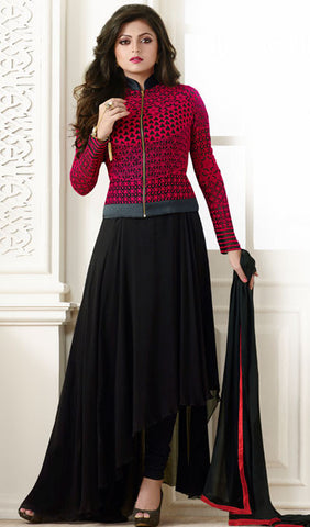 Designer Embroidered Suit:atisundar delightful Black And Red Designer Embroidered Suits - 9378 - atisundar - 1 - click to zoom