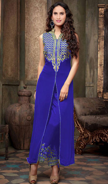 Designer Embroidered Straight Cut Suit:atisundar stunning Blue Designer Straight Cut  - 9031 - atisundar - 1 - click to zoom