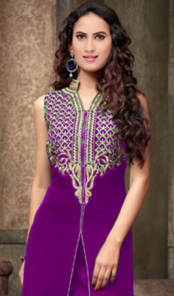 Designer Embroidered Straight Cut Suit:atisundar splendid Purple Designer Straight Cut  - 9032 - atisundar - 2 - click to zoom