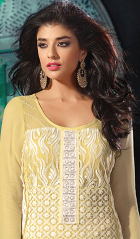 Designer Straight Cut Suit!:atisundar magnificent Yellow Designer Straight Cut Salwar Suit Material - 8793 - atisundar - 3