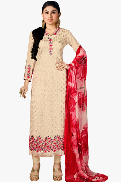 Designer Straight Cut Featuring Mouni Roy: atisundar Charismatic Cream Designer Embroidered Party Wear Straight Cut In Faux Georgette - 11154 - atisundar - 1 - click to zoom