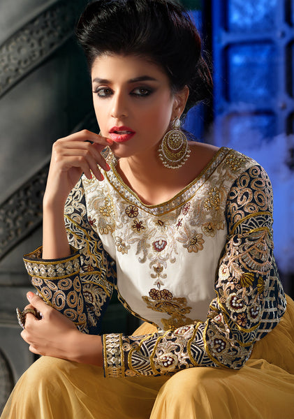 Designer Embroidered Anarkali:atisundar refined Yellow Anarkali - 8460 - atisundar - 5 - click to zoom