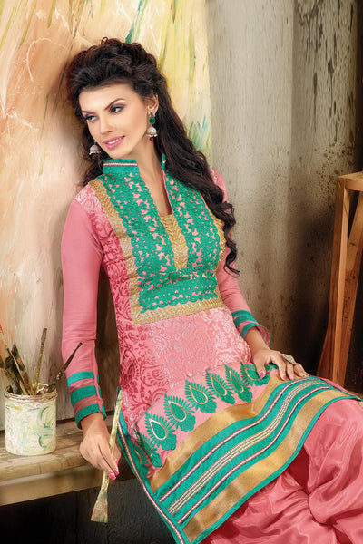 Designer Straight Cut:atisundar Great Light Pink Designer Embroidered Straight Cut - 10658 - atisundar - 2 - click to zoom