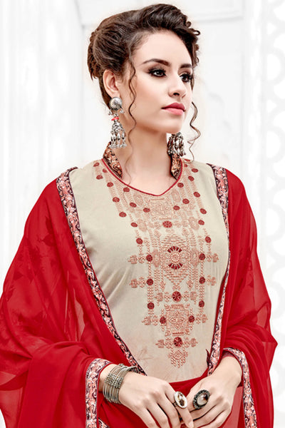 Designer Straight Cut:atisundar angelic Cream And Red Designer Party Wear Straight Cut  - 14165 - click to zoom