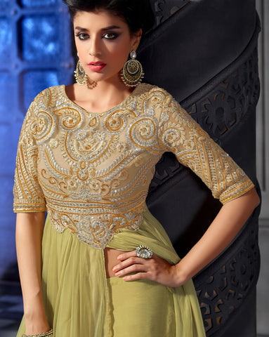 Designer Embroidered Anarkali:atisundar divine Lemon Green Anarkali - 8461 - atisundar - 3 - click to zoom