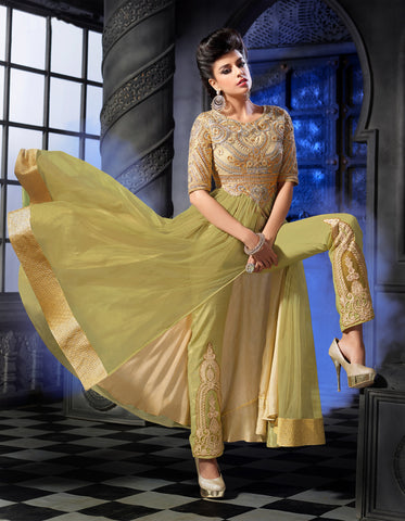 Designer Embroidered Anarkali:atisundar divine Lemon Green Anarkali - 8461 - atisundar - 4 - click to zoom