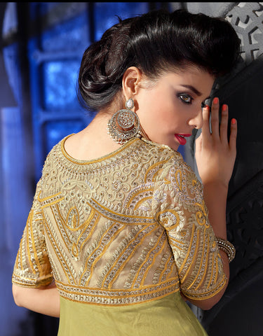Designer Embroidered Anarkali:atisundar divine Lemon Green Anarkali - 8461 - atisundar - 5 - click to zoom