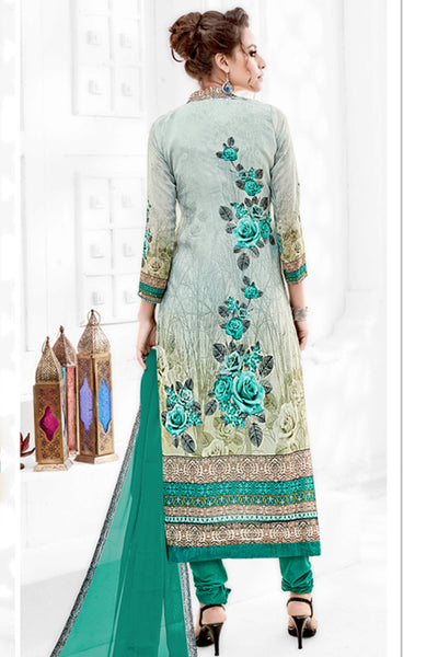 Designer Straight Cut:atisundar bewitching Green Designer Party Wear Straight Cut  - 14166 - click to zoom