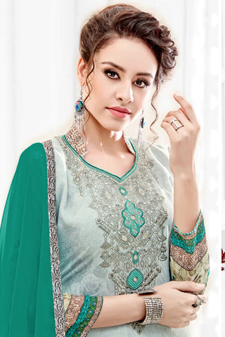 Designer Straight Cut:atisundar bewitching Green Designer Party Wear Straight Cut  - 14166