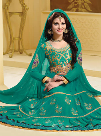 Urvashi Rautela Miss Universe Collection:atisundar magnificent   in Rama Green - 5249 - atisundar - 3 - click to zoom