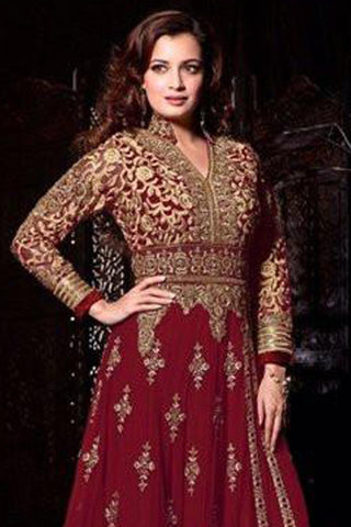 The Diya Mirza Collection:atisundar graceful Maroon Anarkali - 8392