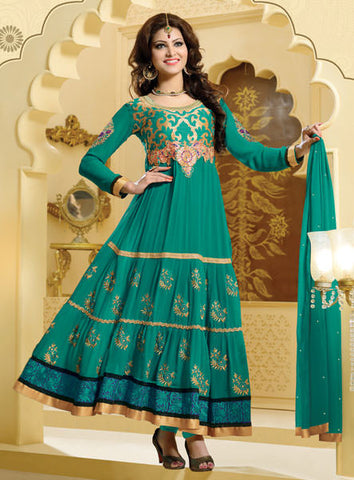 Urvashi Rautela Miss Universe Collection:atisundar magnificent   in Rama Green - 5249 - atisundar - 2 - click to zoom
