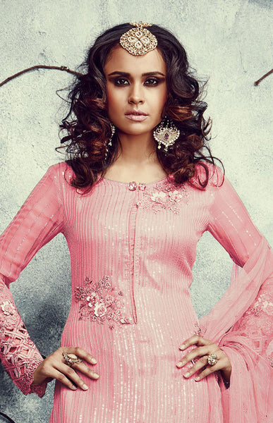 Designer Embroidered Straight Cut Suits:atisundar magnificent Pink Designer Embroidered Straight Cut Suits In Faux Georgette - 9506 - atisundar - 4 - click to zoom