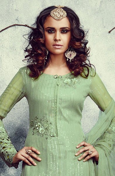 Designer Embroidered Straight Cut Suits:atisundar excellent Green Designer Embroidered Straight Cut Suits In Faux Georgette - 9507 - atisundar - 4 - click to zoom