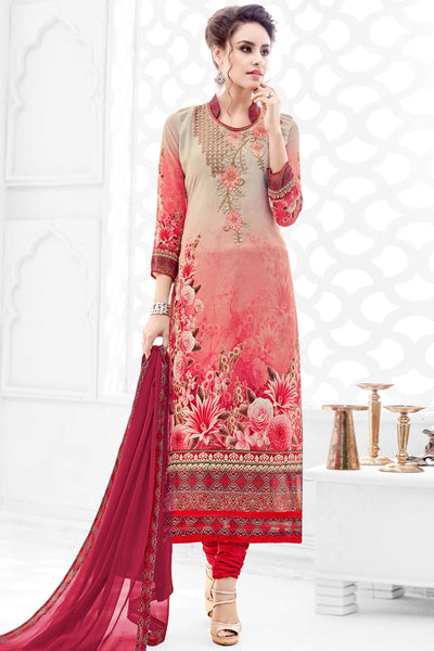 Designer Straight Cut:atisundar marvelous Cream And Red Designer Party Wear Straight Cut  - 14167 - click to zoom