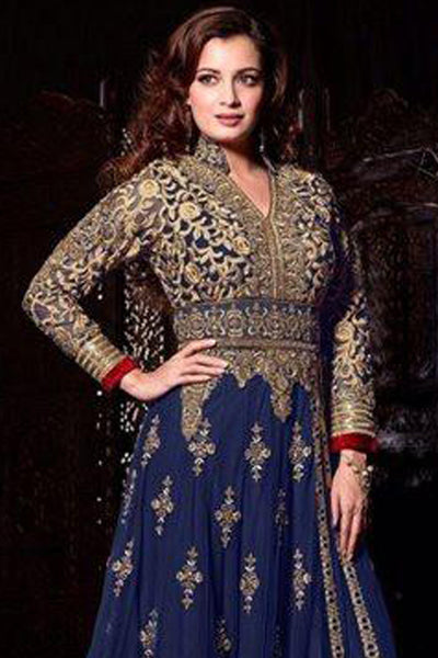 The Diya Mirza Collection:atisundar lovely Blue Anarkali - 8393 - click to zoom