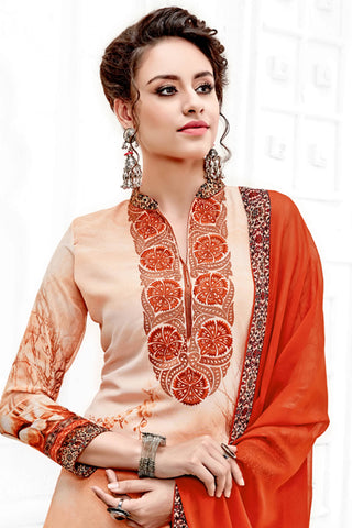 Designer Straight Cut:atisundar Smart Orange Designer Party Wear Straight Cut  - 14168