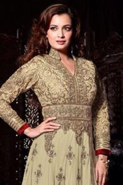 The Diya Mirza Collection:atisundar cute Beige Anarkali - 8394 - click to zoom