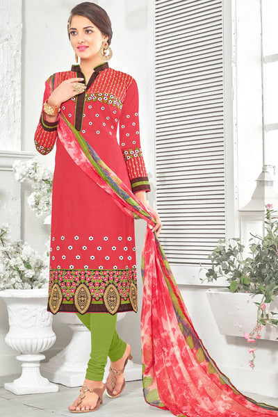 Designer Straight Cut:atisundar admirable Red Designer Party Wear Straight Cut With Heavy Embroidary - 12669 - click to zoom