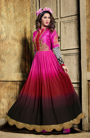 Designer Embroidered Suit:atisundar refined Pink And Maroon And Black Designer Embroidered Suits - 8635 - atisundar - 3 - click to zoom