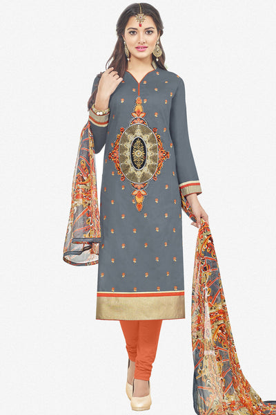 Designer Straight Cut:atisundar comely Grey Designer Party Wear Straight Cut With Heavy Embroidary - 12670 - click to zoom