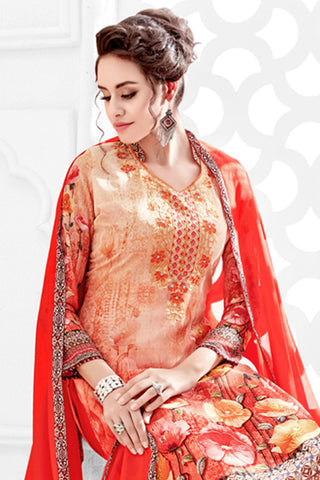 Designer Straight Cut:atisundar Beautiful Orange Designer Party Wear Straight Cut  - 14170