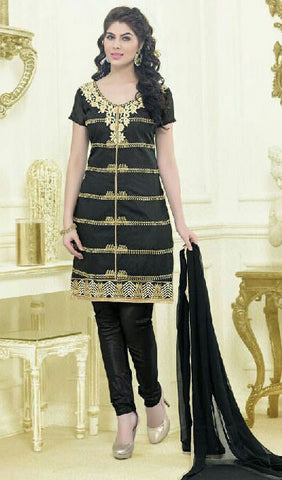 Designer Embroidered Straight Cut Suit:atisundar Charismatic Black Embroidered Straight Cut in Chanderi - 9575 - atisundar - 1 - click to zoom
