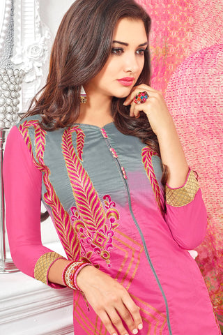 Designer Straight Cut:atisundar Alluring Pink Designer Party Wear Straight Cut With Heavy Embroidary - 12671