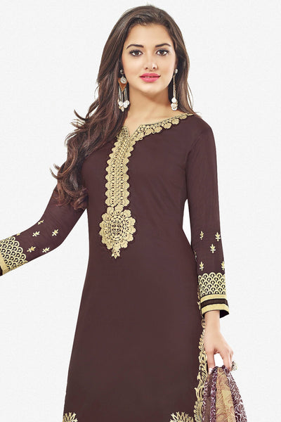 Designer Straight Cut:atisundar lovely Brown Designer Party Wear Straight Cut With Heavy Embroidary - 12672 - click to zoom