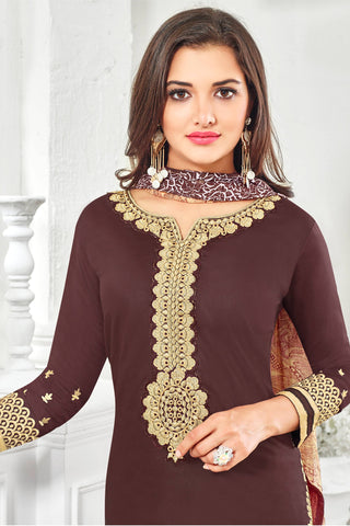 Designer Straight Cut:atisundar lovely Brown Designer Party Wear Straight Cut With Heavy Embroidary - 12672