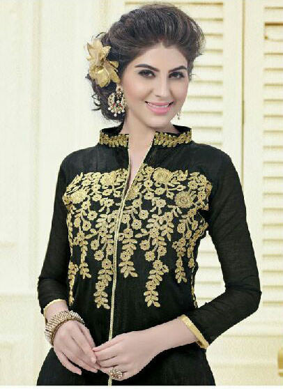 Designer Embroidered Straight Cut Suit:atisundar elegant Black Embroidered Straight Cut in Chanderi - 9579 - atisundar - 3 - click to zoom