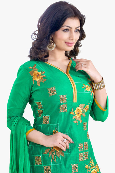 Designer Straight Cut:atisundar radiant Sea Green Designer Embroidered Straight Cut - 11749 - click to zoom
