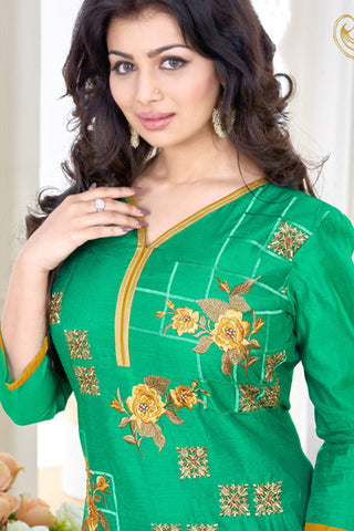 Designer Straight Cut:atisundar radiant Sea Green Designer Embroidered Straight Cut - 11749 - atisundar - 6