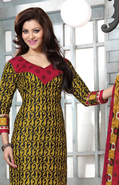 Designer Collection in Pure Cotton Featuring Urvashi Rautela:atisundar pretty Pure Cotton Pure Cotton Designer Printed unstitched Suit in Yellow - 6562 - atisundar - 3 - click to zoom