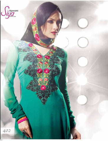 Elegant Embroidered Anarkali Green Unstitched Salwar Kameez By Siya - 4102 - atisundar - 4