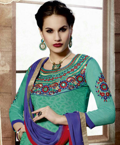 Designer Embroidered Straight Cut Suit:atisundar charming Green Designer Straight Cut Embroidered Suits - 9134 - atisundar - 3 - click to zoom