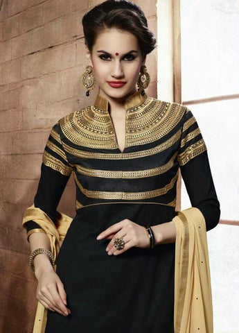 Designer Embroidered Straight Cut Suit:atisundar delicate Black Designer Straight Cut Embroidered Suits - 9135 - atisundar - 3