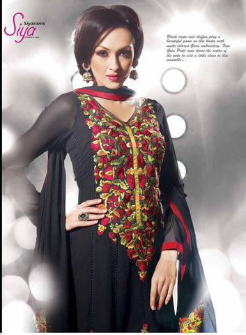 Charismatic Embroidered Anarkali Black Unstitched Salwar Kameez By Siya - 4104 - atisundar - 5