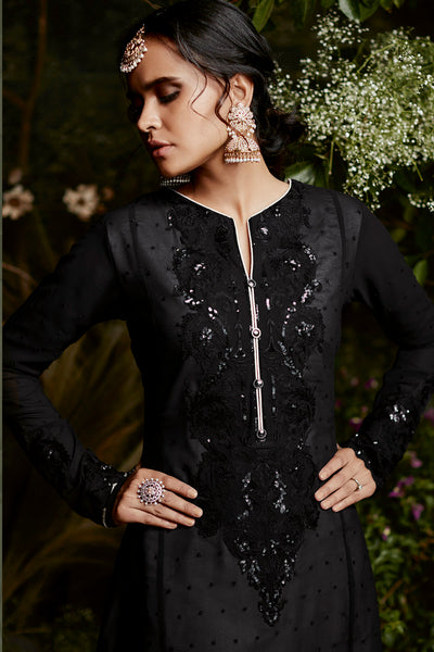 Fox Georgette with Heavy Embroidery Straight Cut Suit:atisundar angelic Black Designer Embroidered Straight Cut Suits In Faux Georgette - 15872 - click to zoom