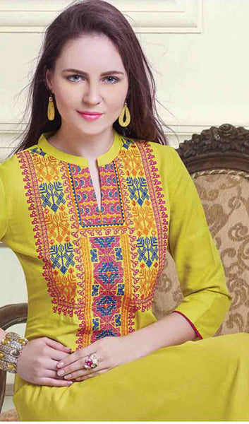 Designer Tops:atisundar refined Embroidered Rayon Cotton Embroidered Rayon Cotton Top in Yellow - 10261 - click to zoom