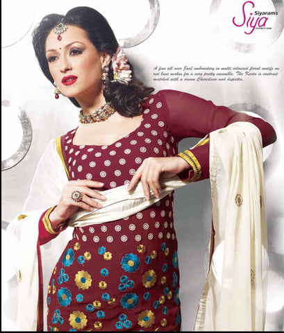 Siya Chandrabhaga: Great Unstitched Salwar Kameez In Maroon - 4110 - atisundar - 4